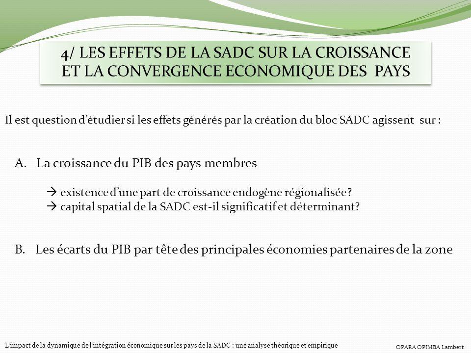 4/ LES EFFETS DE LA SADC SUR LA CROISSANCE ET LA CONVERGENCE ECONOMIQUE DES PAYS Limpact de la dynamique de lintégration économique sur les pays de la