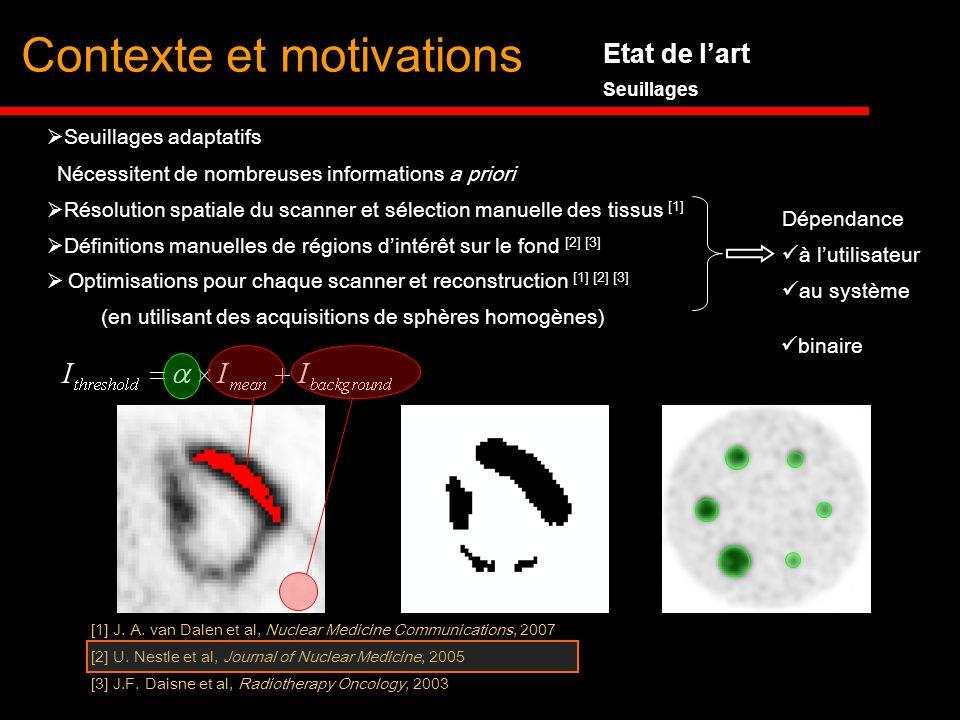 Etat de lart Seuillages Résolution spatiale du scanner et sélection manuelle des tissus [1] Définitions manuelles de régions dintérêt sur le fond [2]