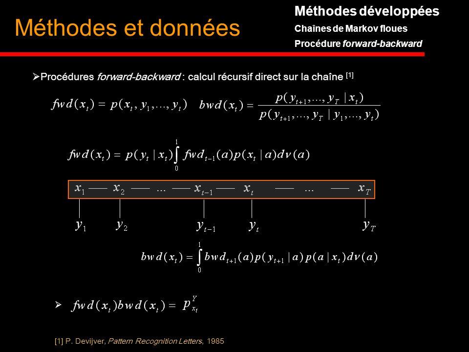 Méthodes développées Chaînes de Markov floues Procédure forward-backward Méthodes et données [1] P. Devijver, Pattern Recognition Letters, 1985 Procéd