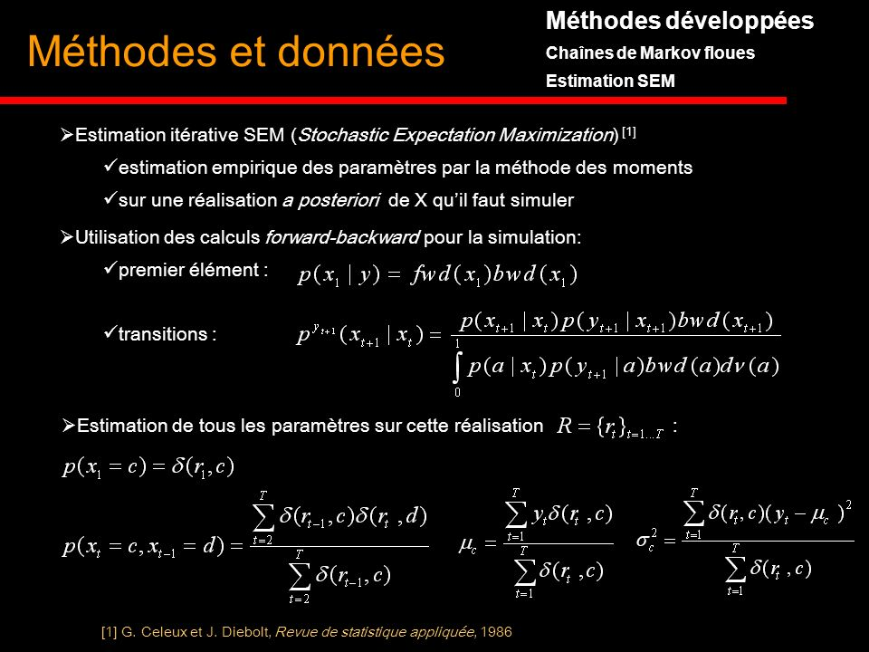 Méthodes et données Méthodes développées Chaînes de Markov floues Estimation SEM Estimation itérative SEM (Stochastic Expectation Maximization) [1] es
