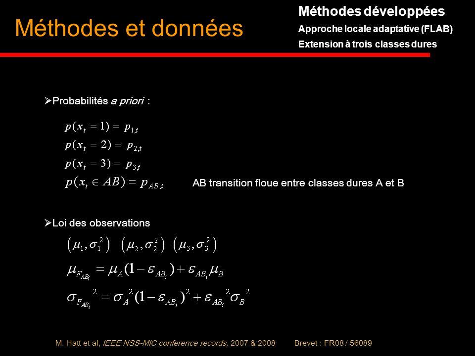 Méthodes et données Probabilités a priori : AB transition floue entre classes dures A et B Loi des observations Méthodes développées Approche locale a