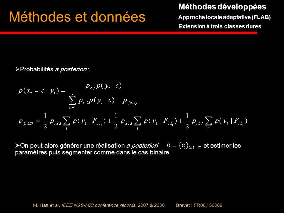 Méthodes et données Probabilités a posteriori : On peut alors générer une réalisation a posteriori et estimer les paramètres puis segmenter comme dans