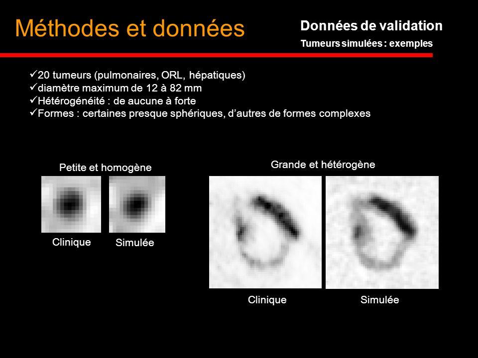 Données de validation Tumeurs simulées : exemples Clinique Simulée Petite et homogène Grande et hétérogène CliniqueSimulée 20 tumeurs (pulmonaires, OR
