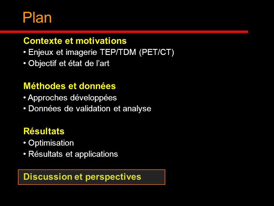 Plan Contexte et motivations Enjeux et imagerie TEP/TDM (PET/CT) Objectif et état de lart Méthodes et données Approches développées Données de validat