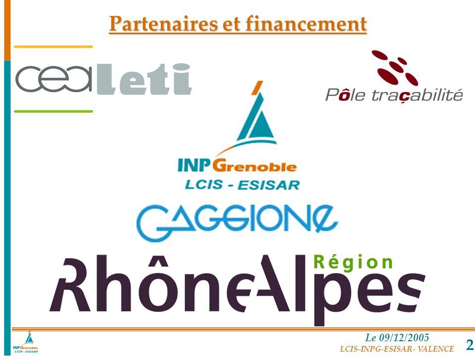Le 09/12/2005 LCIS-INPG-ESISAR- VALENCE 2 Partenaires et financement