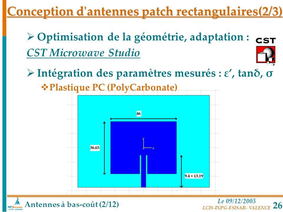 Le 09/12/2005 LCIS-INPG-ESISAR- VALENCE 26 Antennes à bas-coût (2/12) Conception d'antennes patch rectangulaires(2/3) Optimisation de la géométrie, ad