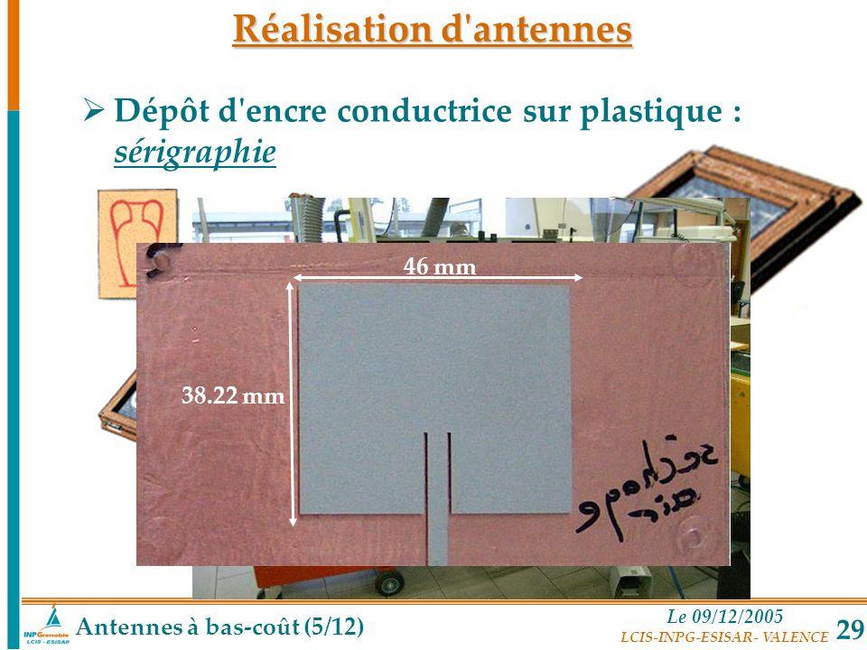 Le 09/12/2005 LCIS-INPG-ESISAR- VALENCE 29 46 mm 38.22 mm Réalisation d'antennes Antennes à bas-coût (5/12) Dépôt d'encre conductrice sur plastique :