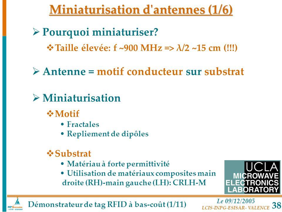 Le 09/12/2005 LCIS-INPG-ESISAR- VALENCE 38 Miniaturisation d'antennes (1/6) Pourquoi miniaturiser? Taille élevée: f ~900 MHz => λ/2 ~15 cm (!!!) Anten