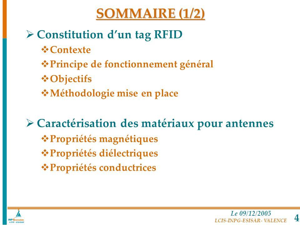 Le 09/12/2005 LCIS-INPG-ESISAR- VALENCE 4 SOMMAIRE (1/2) Constitution dun tag RFID Contexte Principe de fonctionnement général Objectifs Méthodologie