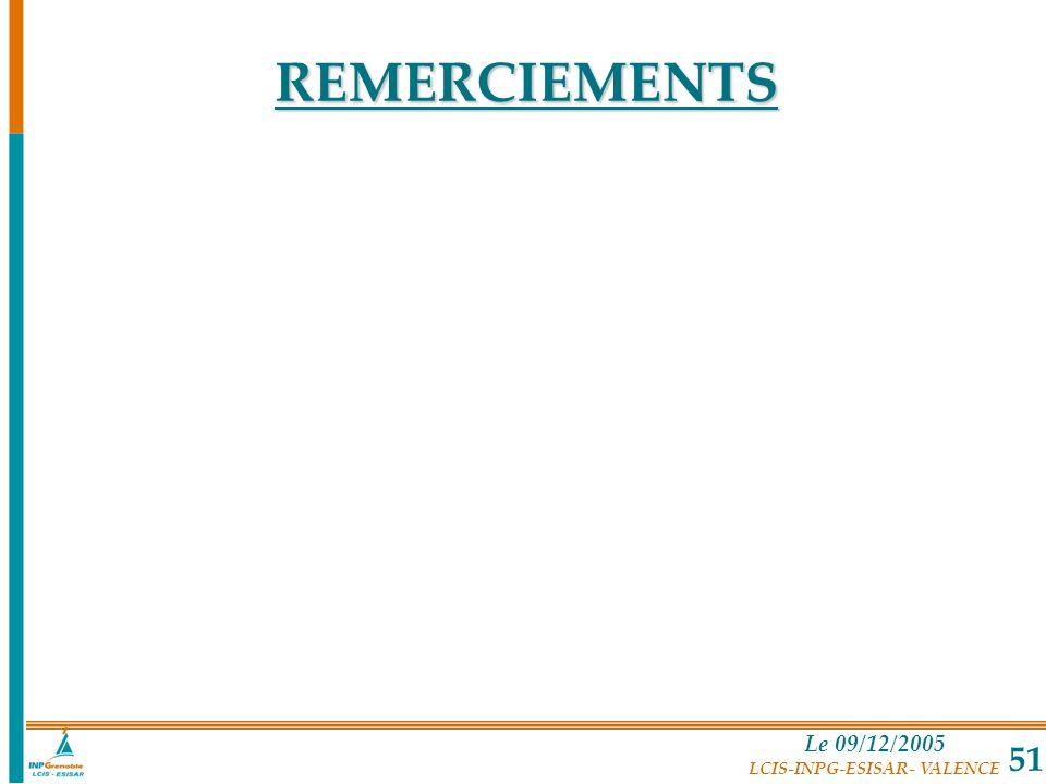 Le 09/12/2005 LCIS-INPG-ESISAR- VALENCE 51 REMERCIEMENTS