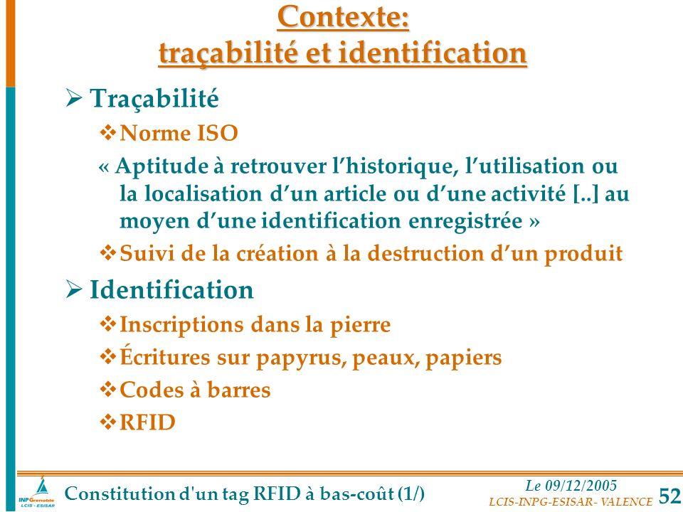 Le 09/12/2005 LCIS-INPG-ESISAR- VALENCE 52 Contexte: traçabilité et identification Traçabilité Norme ISO « Aptitude à retrouver lhistorique, lutilisat