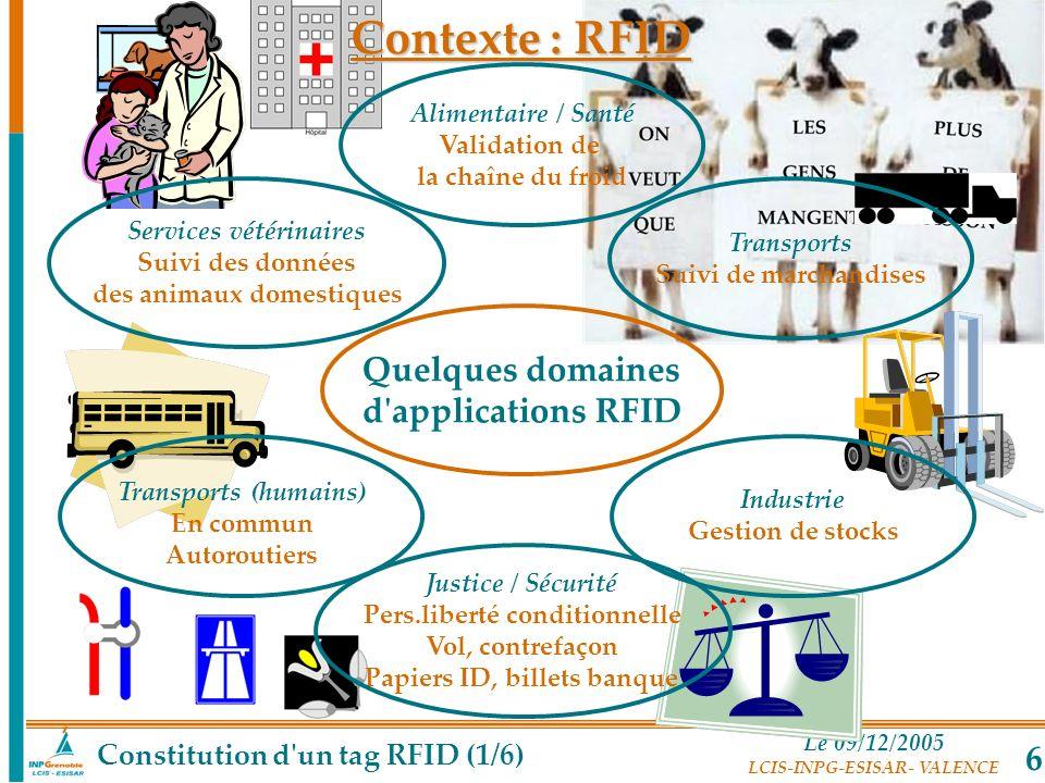 Le 09/12/2005 LCIS-INPG-ESISAR- VALENCE 6 Contexte : RFID Quelques domaines d'applications RFID Alimentaire / Santé Validation de la chaîne du froid J