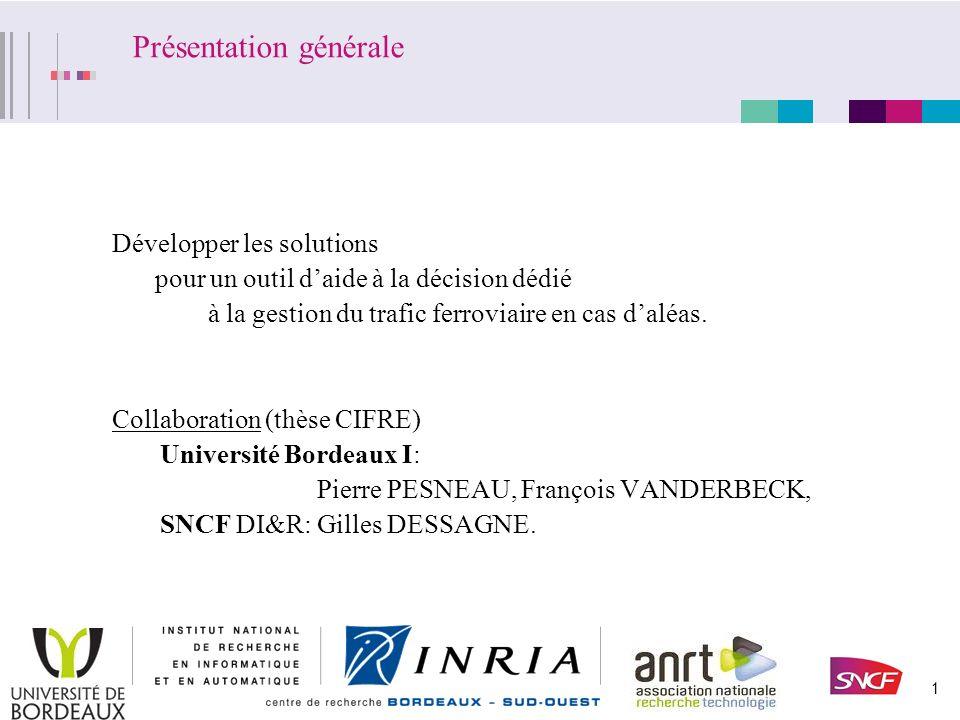Modélisation et Optimisation de la Gestion Opérationnelle du Trafic Ferroviaire en cas dAléas. Thèse présentée par Laurent GÉLY.