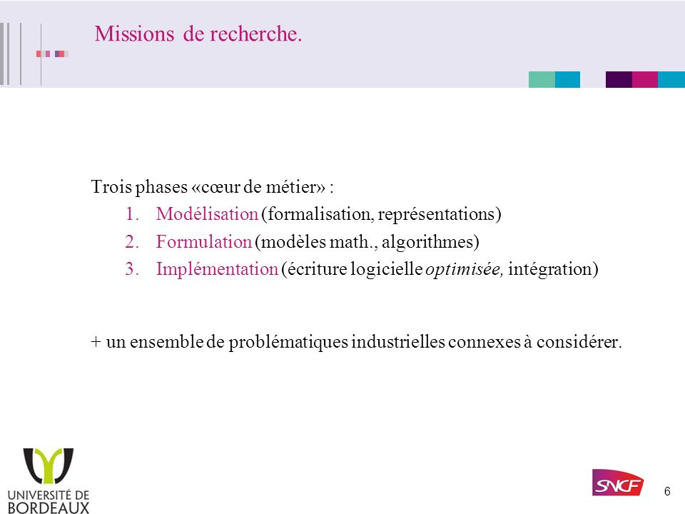 6 Missions de recherche.