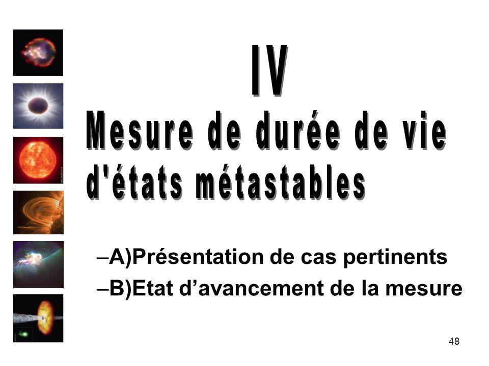 48 –A)Présentation de cas pertinents –B)Etat davancement de la mesure