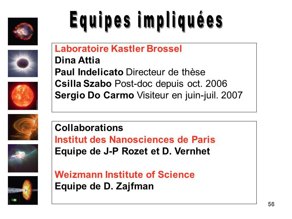 56 Laboratoire Kastler Brossel Dina Attia Paul Indelicato Directeur de thèse Csilla Szabo Post-doc depuis oct. 2006 Sergio Do Carmo Visiteur en juin-j