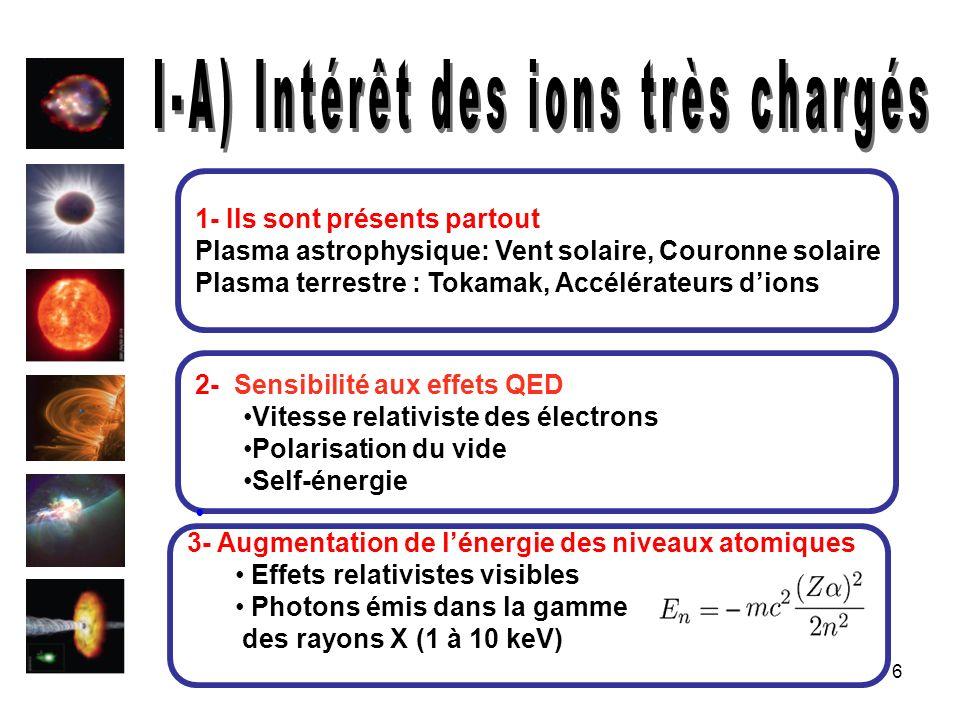 6 1- Ils sont présents partout Plasma astrophysique: Vent solaire, Couronne solaire Plasma terrestre : Tokamak, Accélérateurs dions 2- Sensibilité aux