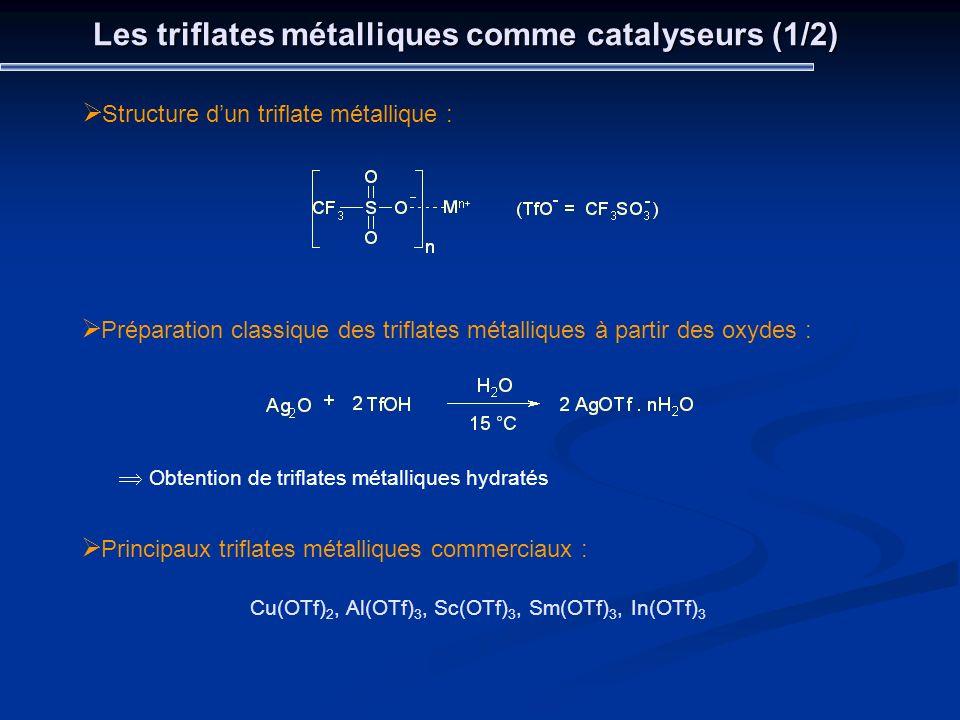 Structure dun triflate métallique : Les triflates métalliques comme catalyseurs (1/2) Préparation classique des triflates métalliques à partir des oxy
