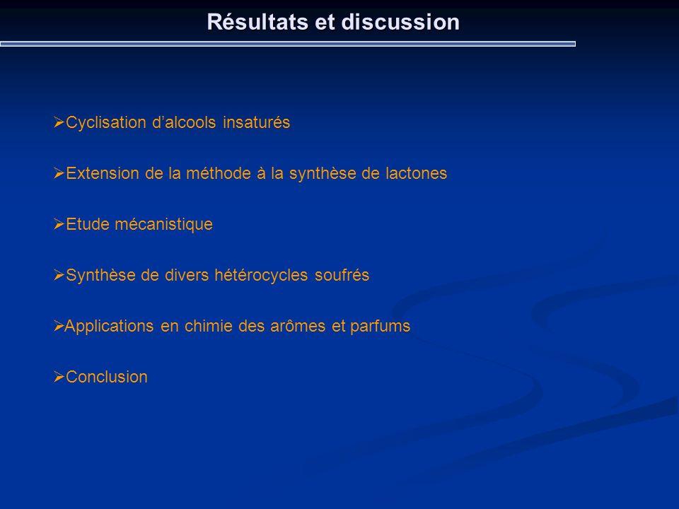 Résultats et discussion Cyclisation dalcools insaturés Extension de la méthode à la synthèse de lactones Etude mécanistique Synthèse de divers hétéroc