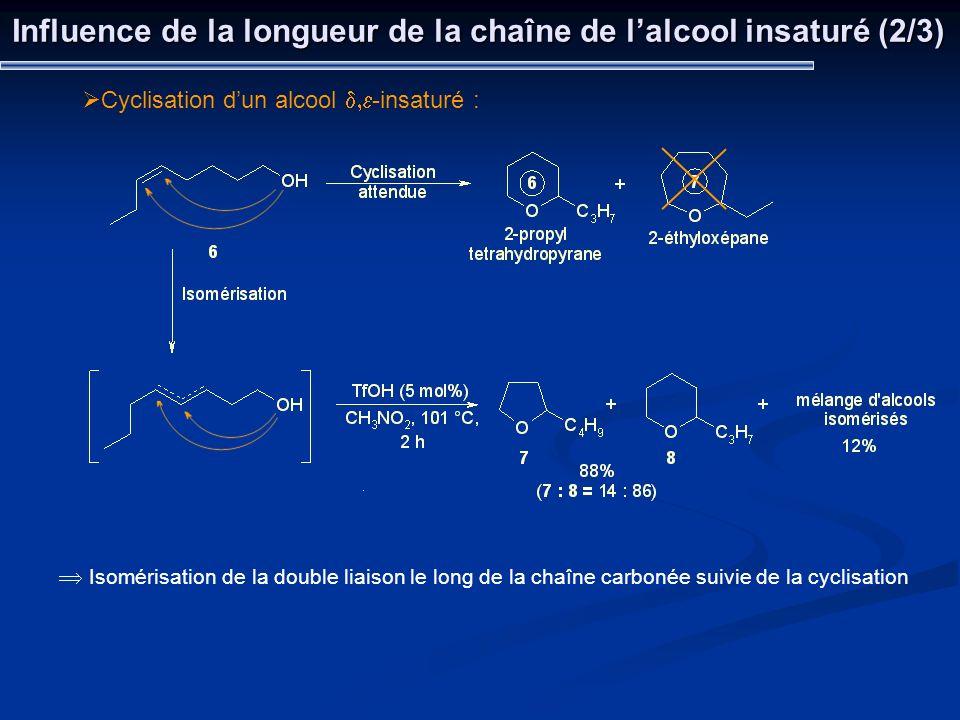 Influence de la longueur de la chaîne de lalcool insaturé (2/3) Cyclisation dun alcool -insaturé : Isomérisation de la double liaison le long de la ch