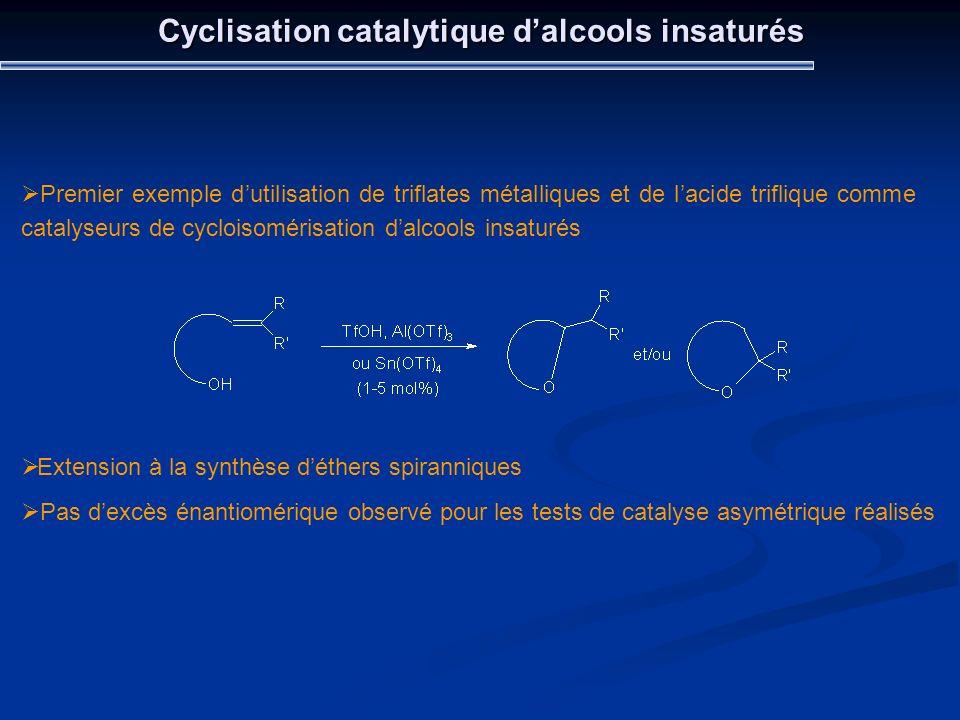 Cyclisation catalytique dalcools insaturés Premier exemple dutilisation de triflates métalliques et de lacide triflique comme catalyseurs de cycloisom