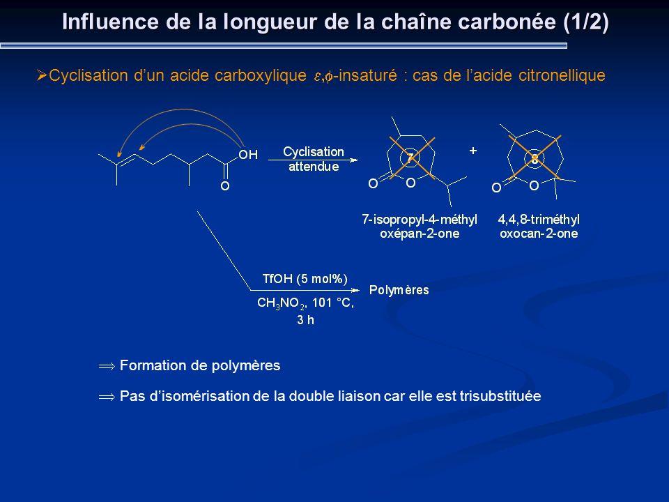 Influence de la longueur de la chaîne carbonée (1/2) Cyclisation dun acide carboxylique -insaturé : cas de lacide citronellique Formation de polymères
