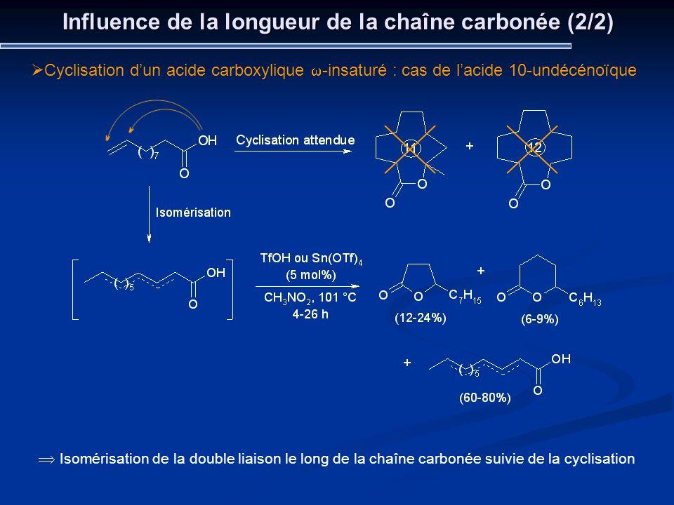 Influence de la longueur de la chaîne carbonée (2/2) Cyclisation dun acide carboxylique -insaturé : cas de lacide 10-undécénoïque Isomérisation de la