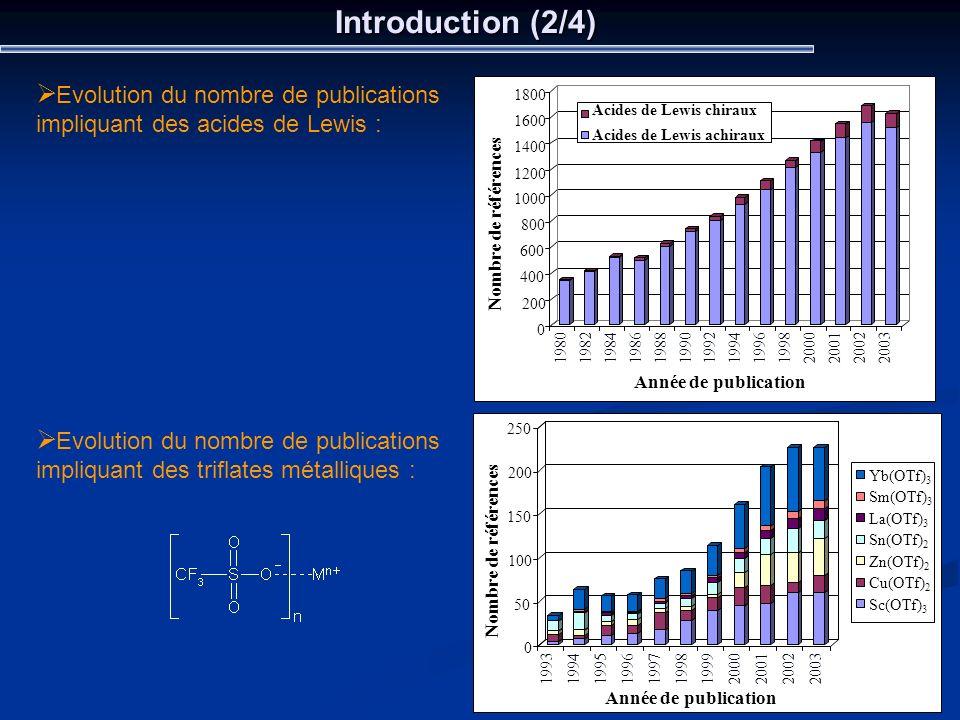 Introduction (2/4) 0 200 400 600 800 1000 1200 1400 1600 1800 Nombre de références Année de publication Acides de Lewis chiraux Acides de Lewis achira