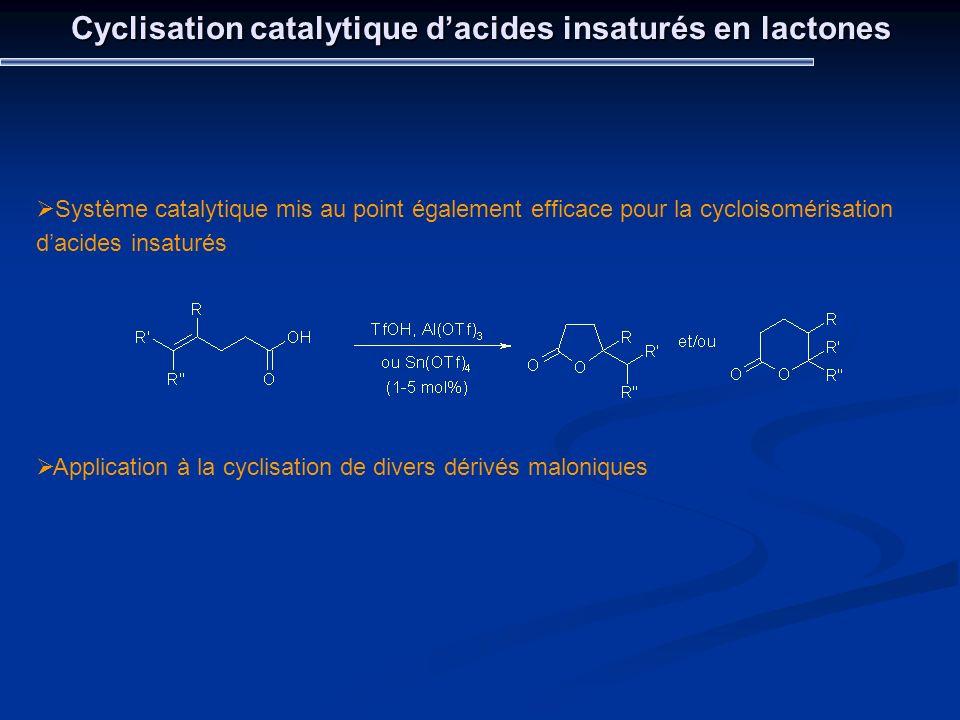 Cyclisation catalytique dacides insaturés en lactones Système catalytique mis au point également efficace pour la cycloisomérisation dacides insaturés