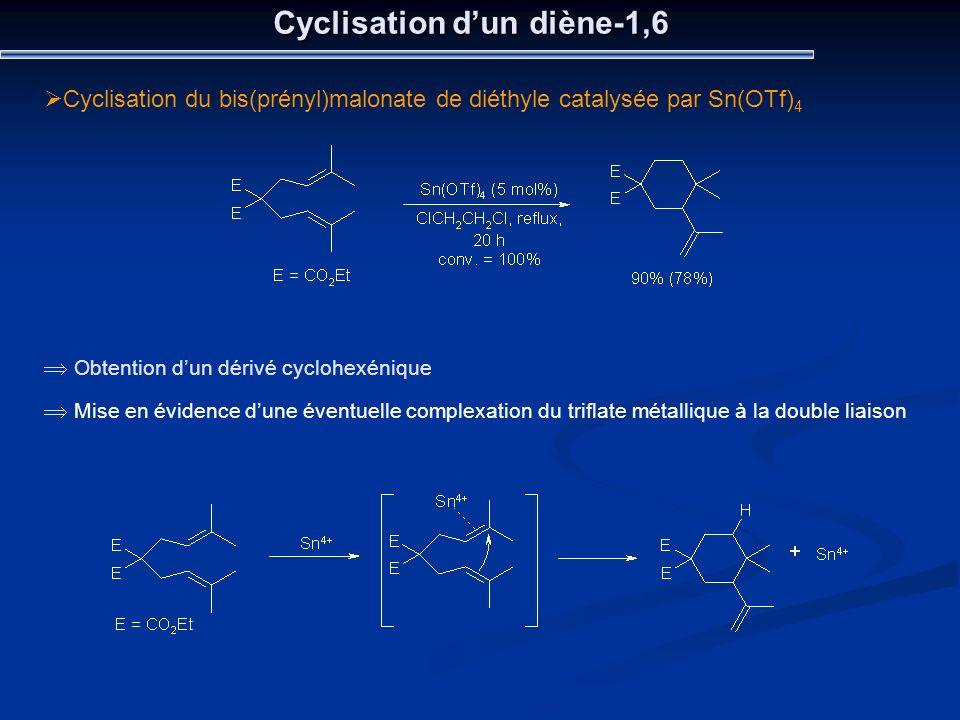 Cyclisation dun diène-1,6 Cyclisation du bis(prényl)malonate de diéthyle catalysée par Sn(OTf) 4 Obtention dun dérivé cyclohexénique Mise en évidence