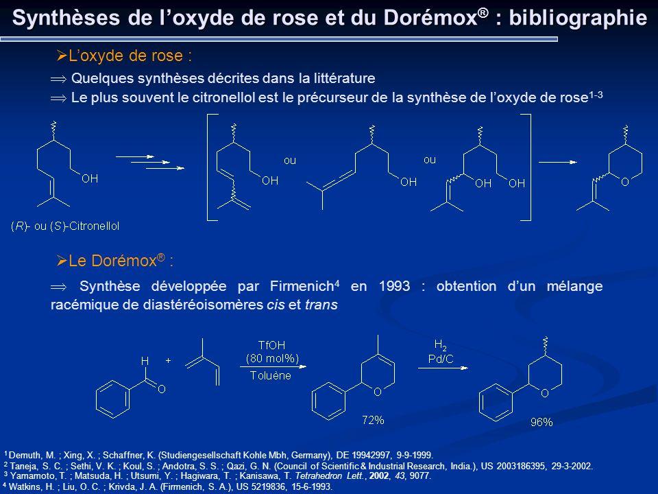 Synthèses de loxyde de rose et du Dorémox ® : bibliographie Loxyde de rose : Quelques synthèses décrites dans la littérature Le plus souvent le citron
