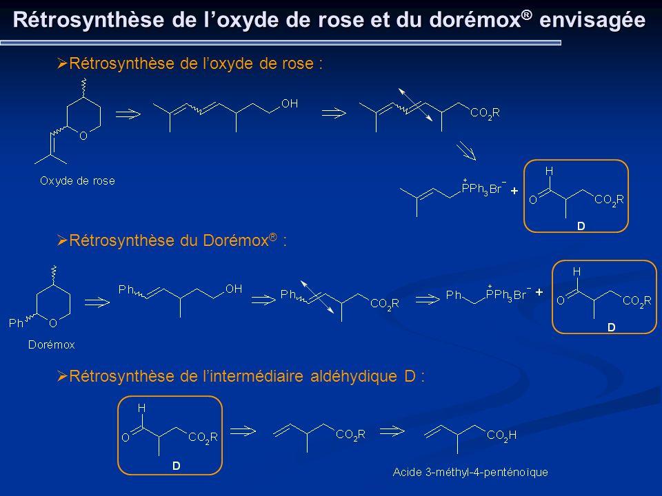 Rétrosynthèse de loxyde de rose et du dorémox ® envisagée Rétrosynthèse de loxyde de rose : Rétrosynthèse du Dorémox ® : Rétrosynthèse de lintermédiai