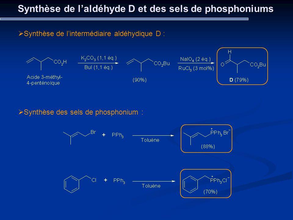 Synthèse de laldéhyde D et des sels de phosphoniums Synthèse de lintermédiaire aldéhydique D : Synthèse des sels de phosphonium :