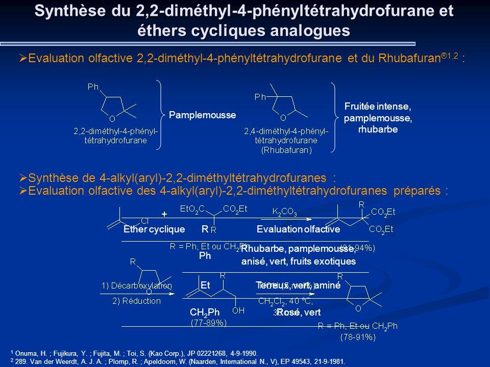 Synthèse du 2,2-diméthyl-4-phényltétrahydrofurane et éthers cycliques analogues Evaluation olfactive 2,2-diméthyl-4-phényltétrahydrofurane et du Rhuba