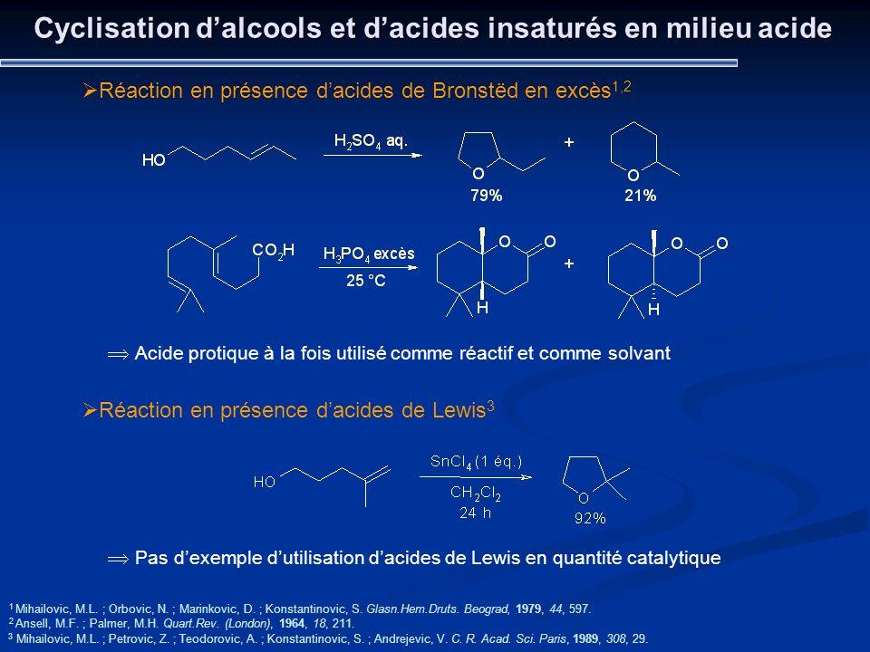 Cyclisation dalcools et dacides insaturés en milieu acide 1 Mihailovic, M.L. ; Orbovic, N. ; Marinkovic, D. ; Konstantinovic, S. Glasn.Hem.Druts. Beog