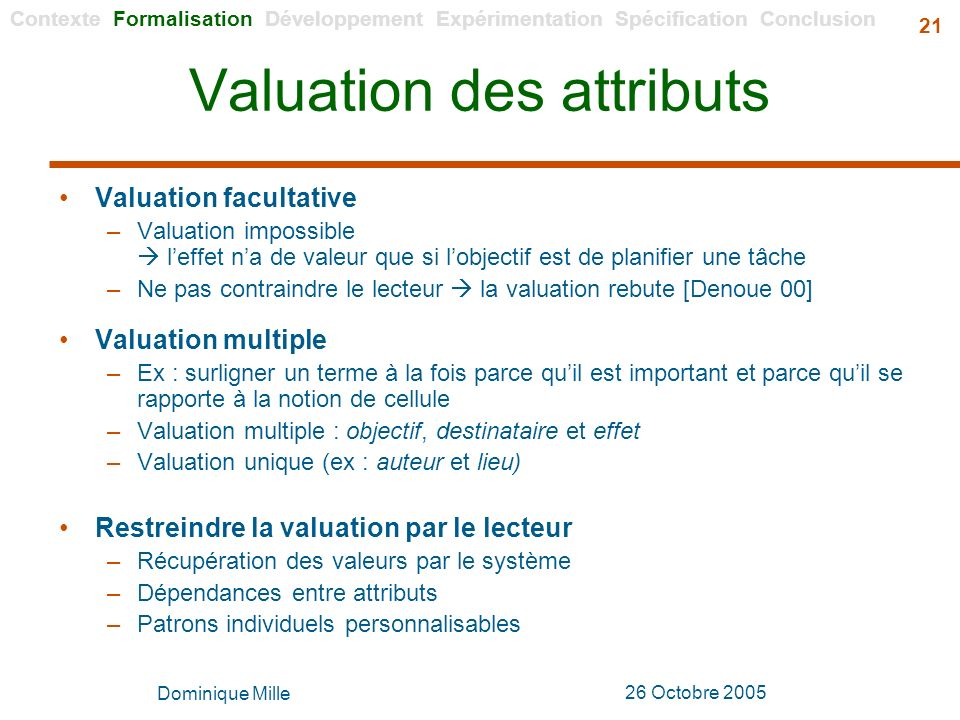 Dominique Mille 26 Octobre 2005 21 Valuation des attributs Valuation facultative –Valuation impossible leffet na de valeur que si lobjectif est de pla