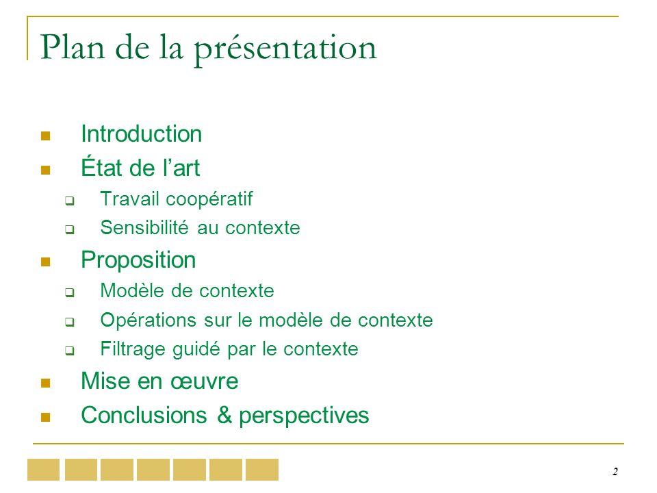 2 Plan de la présentation Introduction État de lart Travail coopératif Sensibilité au contexte Proposition Modèle de contexte Opérations sur le modèle