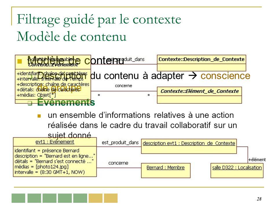 28 Filtrage guidé par le contexte Modèle de contenu Modèle de contenu Description du contenu à adapter conscience de groupe Événements un ensemble dinformations relatives à une action réalisée dans le cadre du travail collaboratif sur un sujet donné