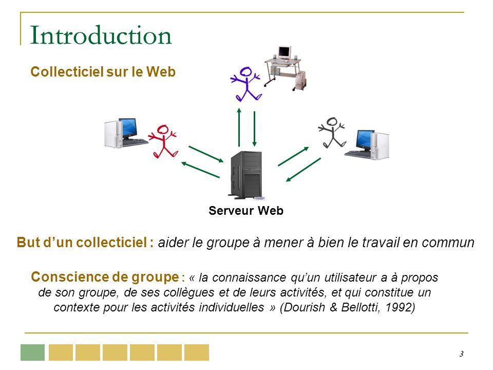 3 Introduction Serveur Web Collecticiel sur le Web But dun collecticiel : aider le groupe à mener à bien le travail en commun Conscience de groupe : « la connaissance quun utilisateur a à propos de son groupe, de ses collègues et de leurs activités, et qui constitue un contexte pour les activités individuelles » (Dourish & Bellotti, 1992)