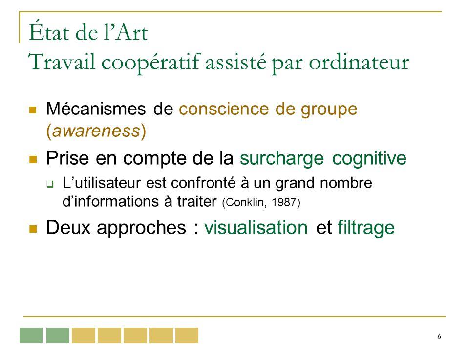 6 État de lArt Travail coopératif assisté par ordinateur Mécanismes de conscience de groupe (awareness) Prise en compte de la surcharge cognitive Lutilisateur est confronté à un grand nombre dinformations à traiter (Conklin, 1987) Deux approches : visualisation et filtrage