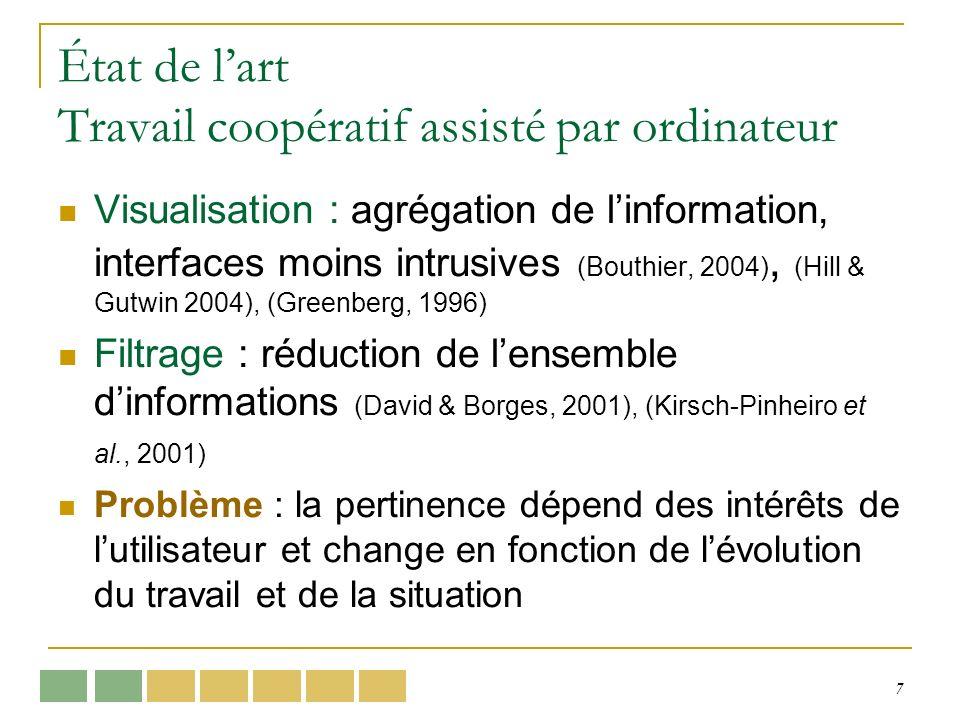 7 État de lart Travail coopératif assisté par ordinateur Visualisation : agrégation de linformation, interfaces moins intrusives (Bouthier, 2004), (Hi