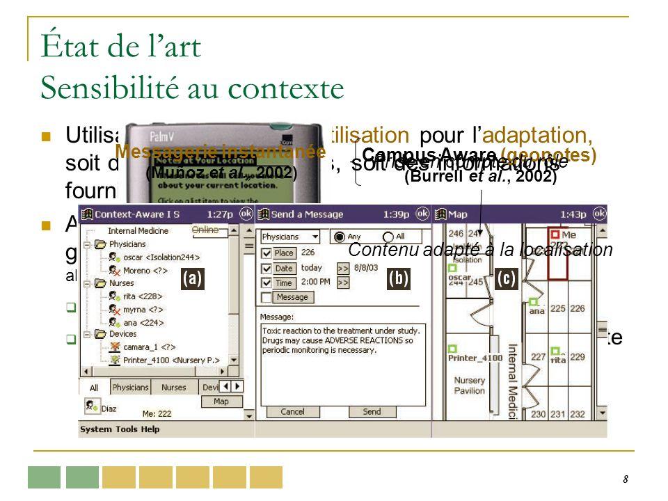 49 Modèles de représentation Absent dans la plupart des systèmes Approches de représentation XML, CC/PP, RDF… (Lemlouma, 2004) Modèles à objets (Henricksen et al., 2002), (Bardram, 2005) Graphes conceptuels (Brézillon, 2002), (Mostéfaoui, 2004) Ontologies (Bucur, 2005), (Alarcón, 2003) Problèmes : identification des éléments de contexte, acquisition dinformations incomplètes, évolution de la notion de contexte, utilisateur en tant quindividu isolé État de lart Notion de contexte