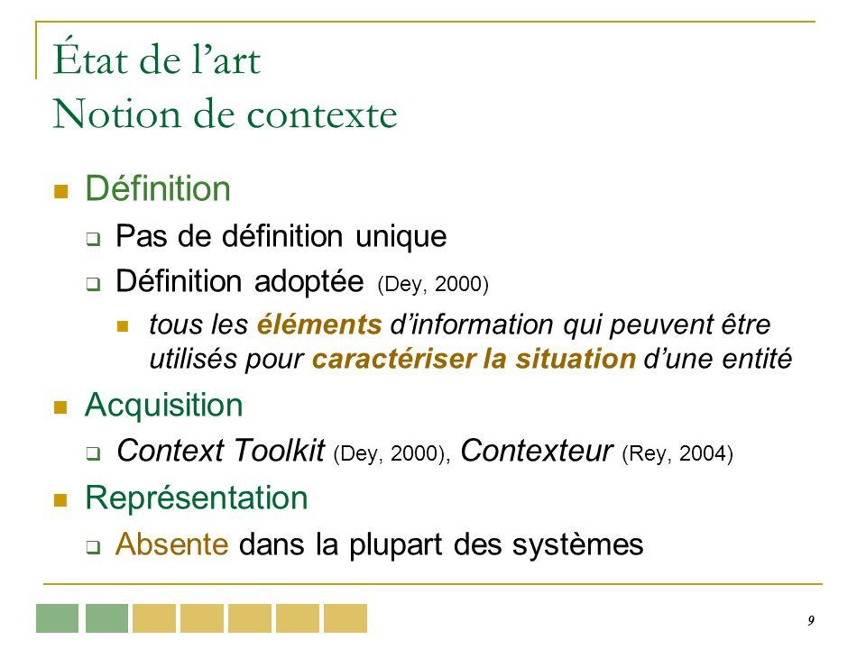 9 État de lart Notion de contexte Définition Pas de définition unique Définition adoptée (Dey, 2000) tous les éléments dinformation qui peuvent être utilisés pour caractériser la situation dune entité Acquisition Context Toolkit (Dey, 2000), Contexteur (Rey, 2004) Représentation Absente dans la plupart des systèmes