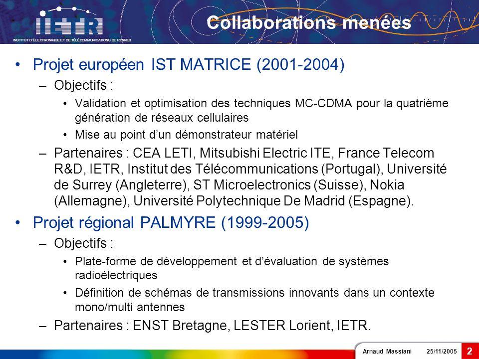 Arnaud Massiani 25/11/2005 INSTITUT DÉLECTRONIQUE ET DE TÉLÉCOMMUNICATIONS DE RENNES 2 Collaborations menées Projet européen IST MATRICE (2001-2004) –