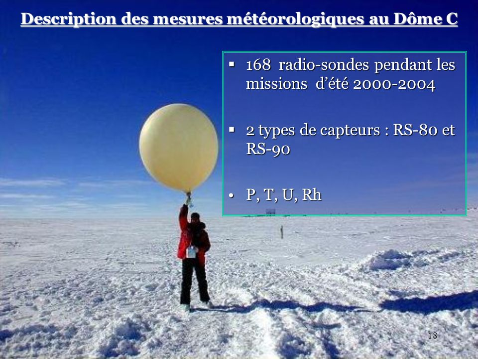 18 Description des mesures météorologiques au Dôme C 168 radio-sondes pendant les missions dété 2000-2004 168 radio-sondes pendant les missions dété 2000-2004 2 types de capteurs : RS-80 et RS-90 2 types de capteurs : RS-80 et RS-90 P, T, U, RhP, T, U, Rh