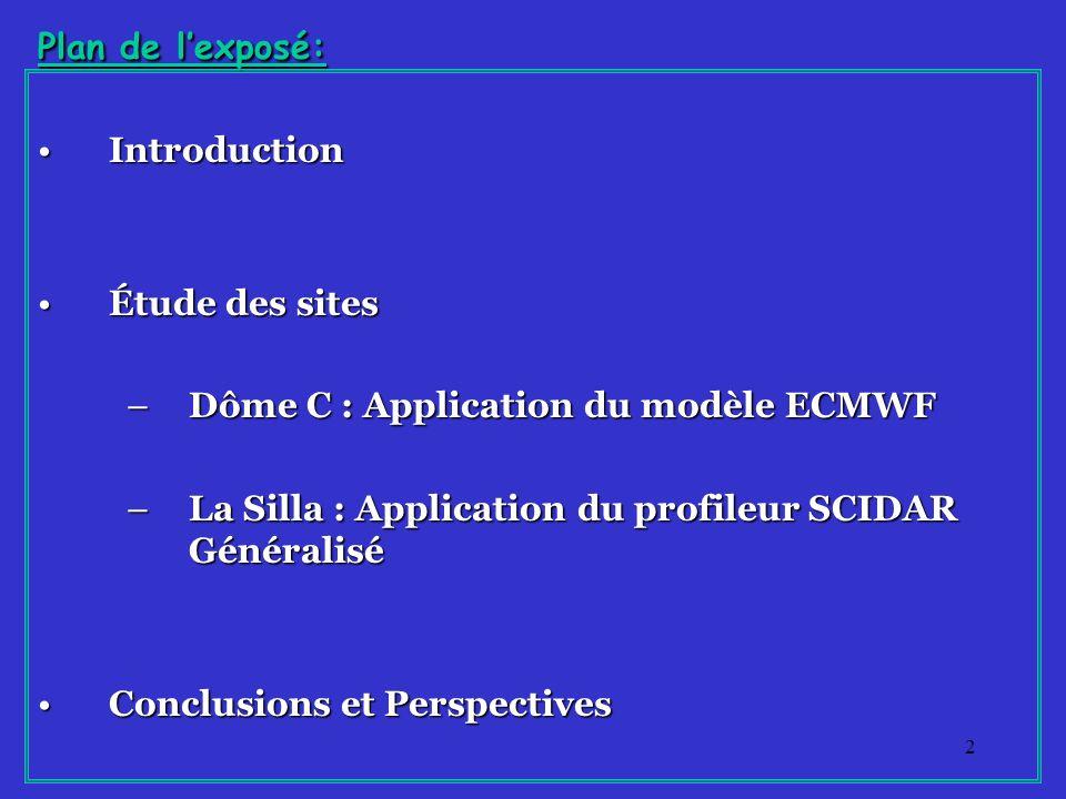 53 Conclusions Deux approches sont importantes pour létude de site en astronomie (modélisation et G-SCIDAR) Le modèle ECMWF est maintenant validé pour le Dôme C Exploitation de ce modèle pour le Dôme C : il permet dobtenir les profils T(h) et V(h) pour toute lannée La technique G-SCIDAR est efficace pour létude de site.