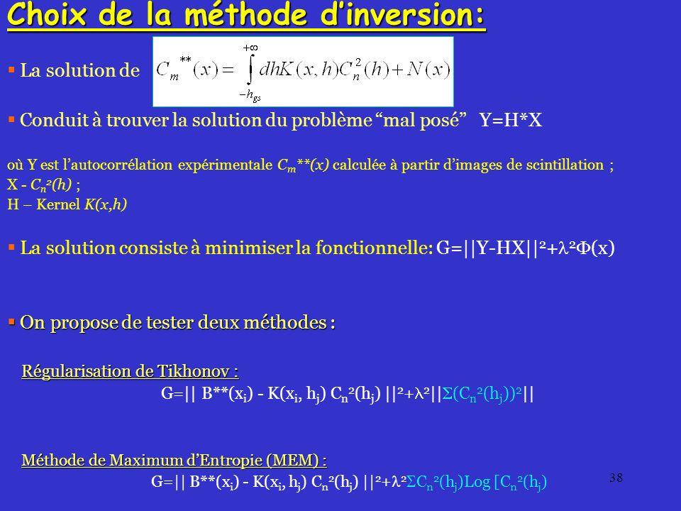 38 Choix de la méthode dinversion: La solution de Conduit à trouver la solution du problème mal posé Y=H*X où Y est lautocorrélation expérimentale C m **(x) calculée à partir dimages de scintillation ; X - C n 2 (h) ; H – Kernel K(x,h) La solution consiste à minimiser la fonctionnelle: G=||Y-HX|| 2 + 2 (x) On propose de tester deux méthodes : On propose de tester deux méthodes : Régularisation de Tikhonov : G=|| B**(x i ) - K(x i, h j ) C n 2 (h j ) || 2 + 2 || (C n 2 (h j )) 2 || Méthode de Maximum dEntropie (MEM) : G=|| B**(x i ) - K(x i, h j ) C n 2 (h j ) || 2 + 2 C n 2 (h j )Log [C n 2 (h j )