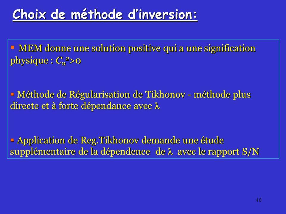 40 Choix de méthode dinversion: MEM donne une solution positive qui a une signification physique : C n 2 >0 Méthode de Régularisation de Tikhonov - méthode plus directe et à forte dépendance avec Méthode de Régularisation de Tikhonov - méthode plus directe et à forte dépendance avec Application de Reg.Tikhonov demande une étude supplémentaire de la dépendence de avec le rapport S/N Application de Reg.Tikhonov demande une étude supplémentaire de la dépendence de avec le rapport S/N