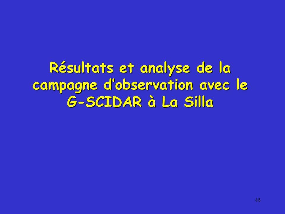 48 Résultats et analyse de la campagne dobservation avec le G-SCIDAR à La Silla