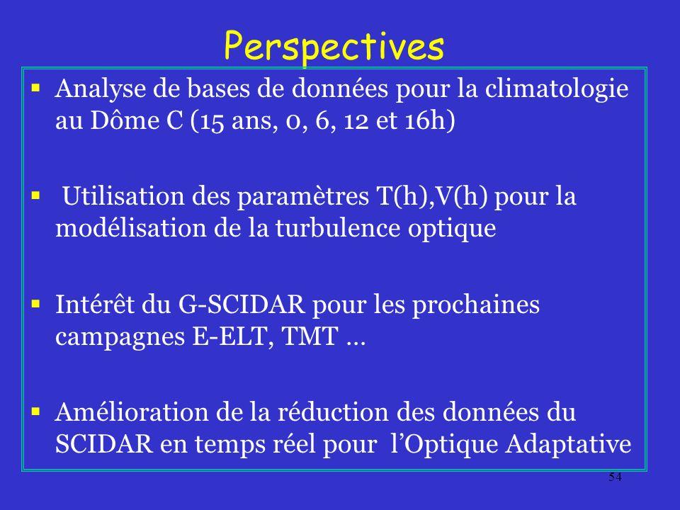 54 Perspectives Analyse de bases de données pour la climatologie au Dôme C (15 ans, 0, 6, 12 et 16h) Utilisation des paramètres T(h),V(h) pour la modélisation de la turbulence optique Intérêt du G-SCIDAR pour les prochaines campagnes E-ELT, TMT … Amélioration de la réduction des données du SCIDAR en temps réel pour lOptique Adaptative